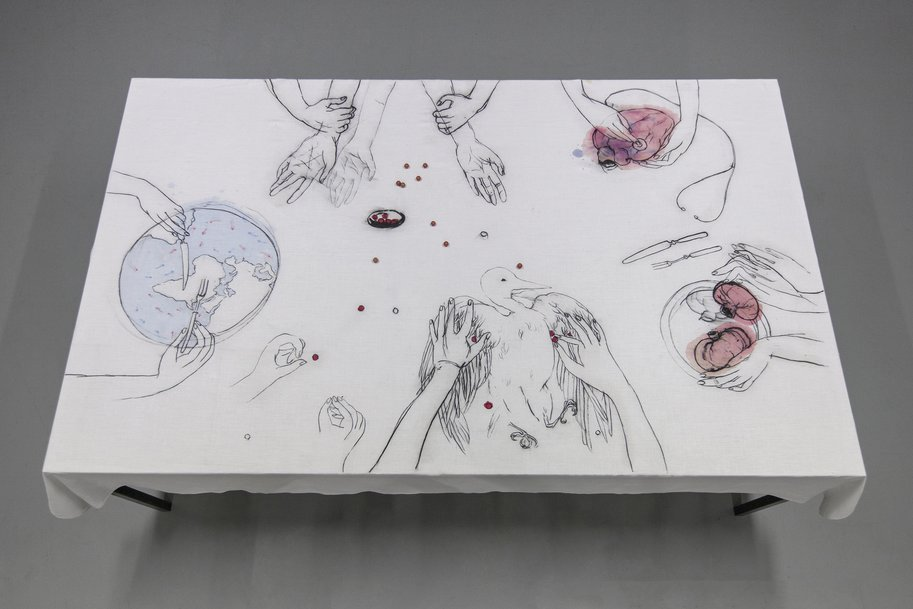 Anatomy of Anonymity, drawing on table cloth, 122 × 200 cm, 2015